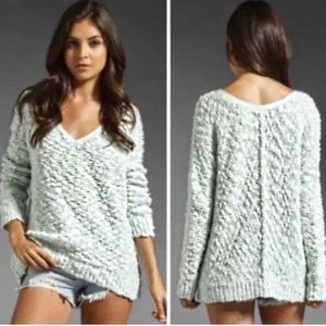 Free People Songbird Boucle Knit V-Neck Sweater